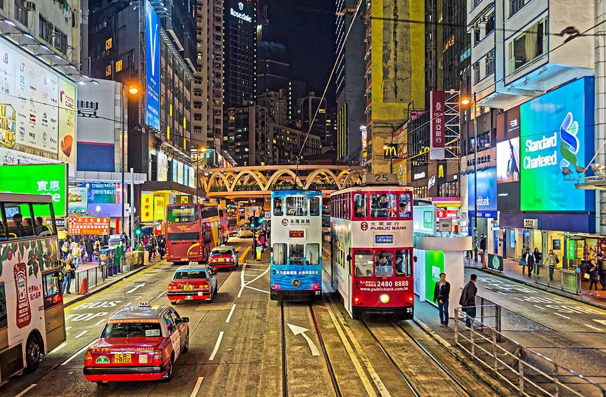Liikennettä Hongkongissa