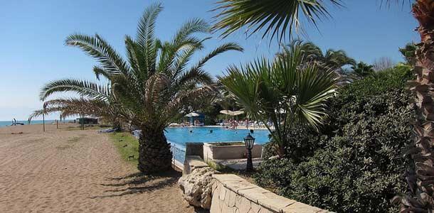 Palmuja ja uima-allas Belekissä