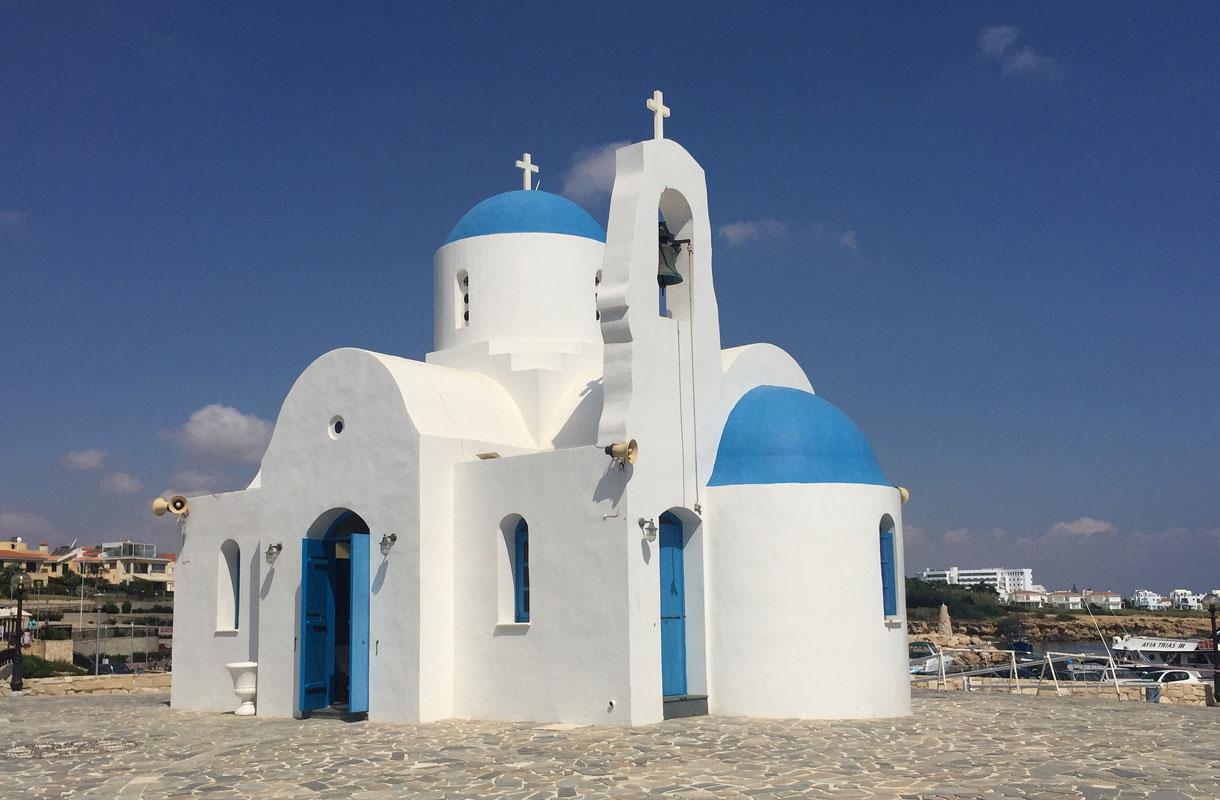 Kreikkalaistyylinen kirkko Protaraksella.